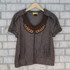 ST JOHN SoCa Knit Zip Front Top With Wood Beaded